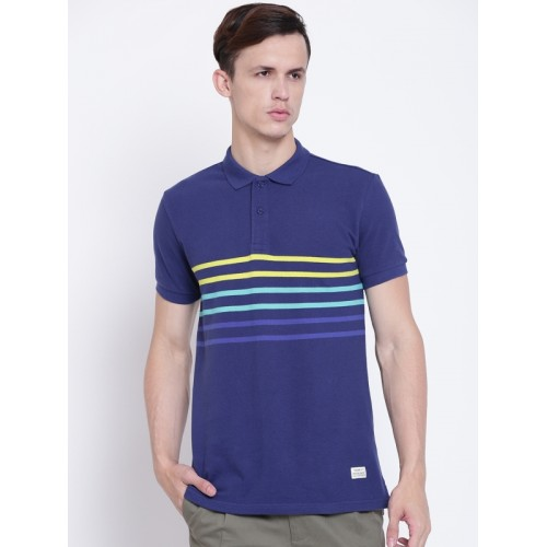 United Colors of Benetton Men Navy Striped Polo Collar T-shirt