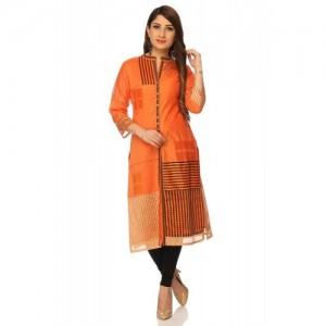 Orange Silk Metallic Cotton Straight Kurta
