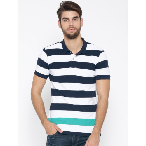 8ca97b2e ... United Colors of Benetton Men White & Navy Striped Polo Collar T-shirt  ...