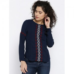 OPt Women Navy Blue Embroidered Top