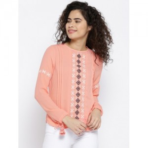OPt Women Peach-Coloured Embroidered Detail Top