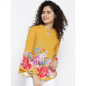 OPt Women Mustard Yellow & Pink Floral Print Top