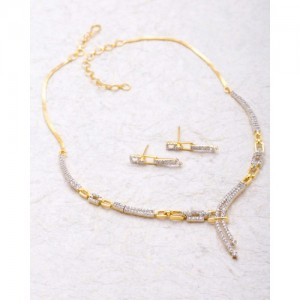 Voylla Necklace Set Embellished With Cz Sparkling Stones For Women