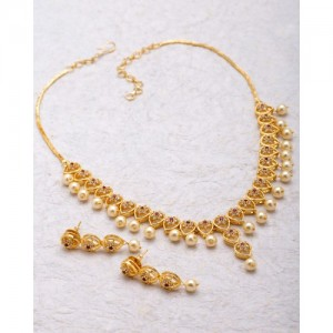 Voylla Pear Motif Necklace Set With Pearl Drops For Women