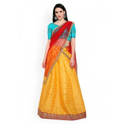 1500f32a42d ... Bhelpuri Yellow & Blue Patterned Taffeta Silk Semi-Stitched Lehenga  Choli with Dupatta ...