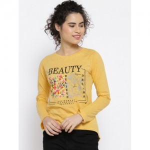 OPt Women Yellow Printed Top