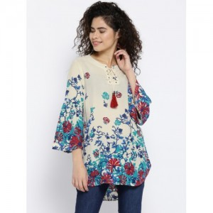 OPt Women Cream-Coloured Printed Top