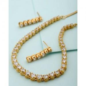 Voylla Round Cz Sparkling Necklace Set