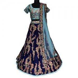 Lehenga Choli For Women (FabTexo Navyblue Color Fancy & Beautiful Embroidered Velvet & Thread & Zari Work Semi_Stiched Dulhan Lehenga Choli For Women) (Bridal Lehenga) (Wedding Special)