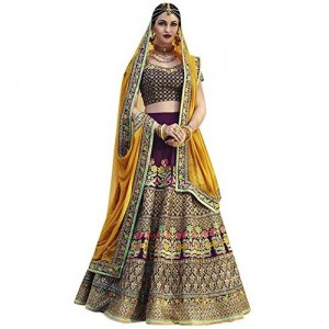 Isha Enterprise Women's Banglori Silk Wine & Yellow Thread Work Lehenga Choli