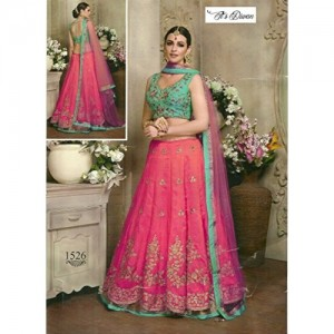 Pink & Green Embroidered Bridal Lehenga