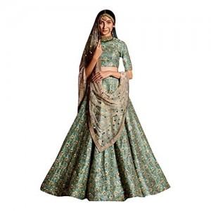 Jheel Fashion Sea green Raw Silk Lehenga