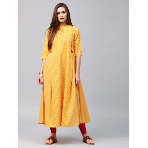 fe02638a7d4 Buy Nayo Women Yellow Printed A-Line Kurta online
