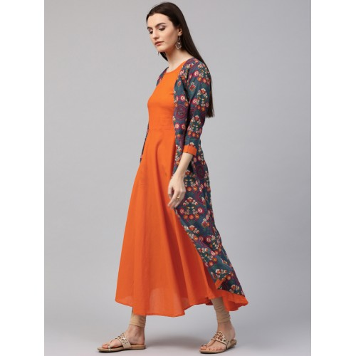 Nayo Teal Blue & Orange Printed Jacket Style Kurta