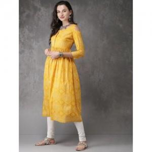 Anouk Women Mustard Yellow & Off-White Printed Anarkali Kurta