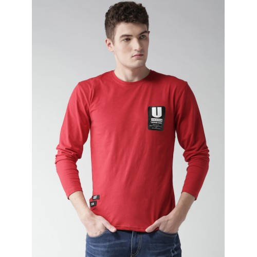 Okane Red Cotton Solid Round Neck T-shirt