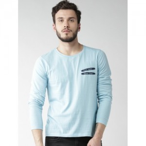 Mast & Harbour Blue Cotton Solid Round Neck T-shirt