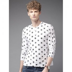 Here&Now White Printed Henley Neck T-Shirt