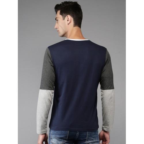 Moda Rapido Navy Blue Solid Henley Neck T-shirt
