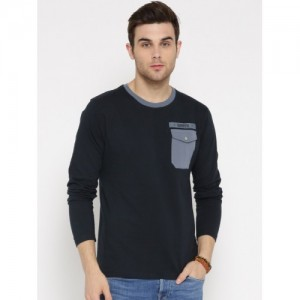 Roadster Navy Blue Cotton Solid Round Neck T-shirt