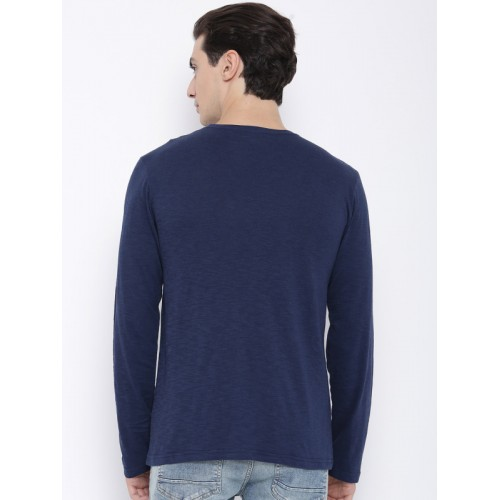 Teesort Blue Cotton Solid Round Neck T-shirt