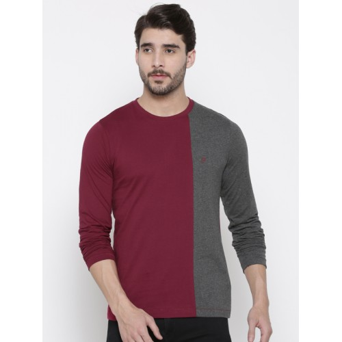 French Connection Maroon & Charcoal Grey Slim Fit Colourblocked Round Neck T-shirt