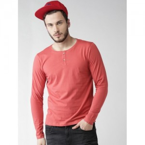 Mast & Harbour Men Coral Red Solid Henley Neck T-shirt