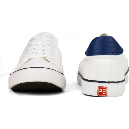 White Synthetic Leather Sneaker Shoes