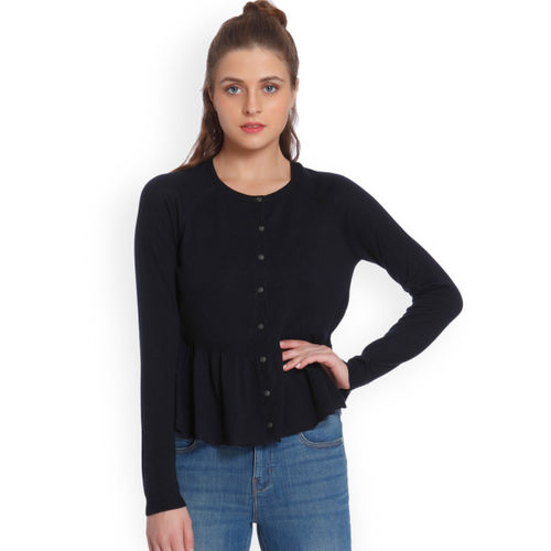 Only Navy Blue Solid Cardigan