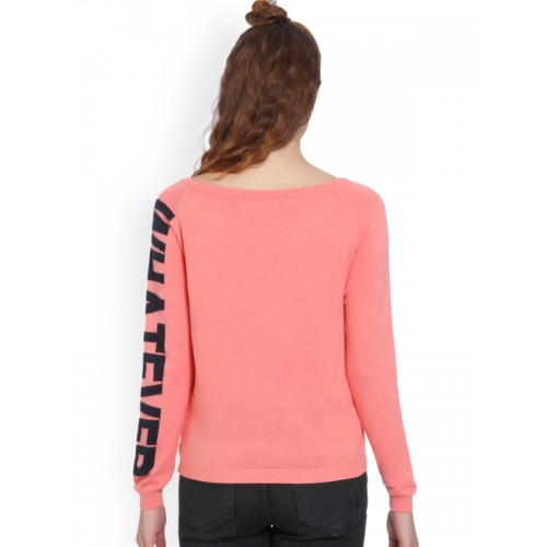 ONLY Women Pink Cotton Solid Pullover