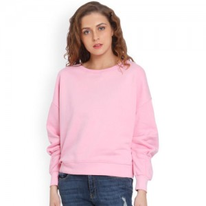 Only Pink Solid Sweatshirt
