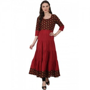 06563801296 Nayo Red printed 3 4 sleeve coton tiered anarkali kurta