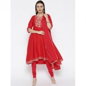 Biba Red Asymmetric Poly Viscose Suit Set
