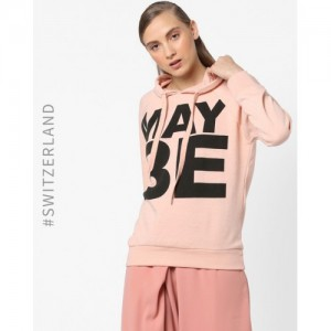 TALLY WEiJL Typographic Print Hoodie with Ribbed Hems