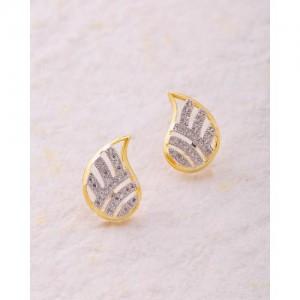 Voylla Ardhangini Cz Paisley Motif Stud Earrings