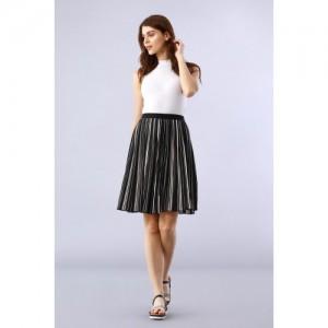 Chumbak Monochrome Striped Black A-line Skirt