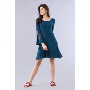 Chumbak Embroidered Navy Blue Swing Dress