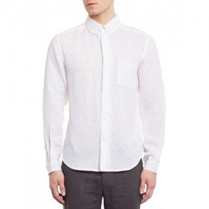 DHATU White Full Sleeve Button-Down Linen Shirt