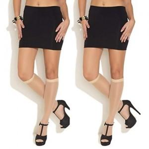 Stylish Look Pair Of Skin Color Knee Length Stockings - 2 Pair GS-175