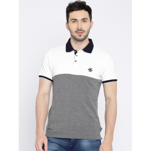 WROGN Men Grey Melange Colourblocked Slim Fit Polo Collar T-shirt