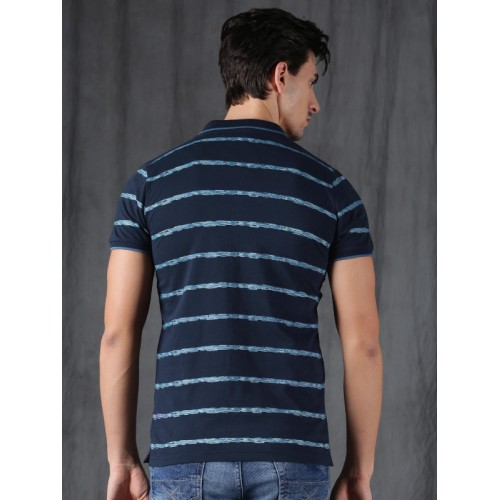 WROGN Men Navy Blue Slim Fit Striped Polo Collar T-shirt
