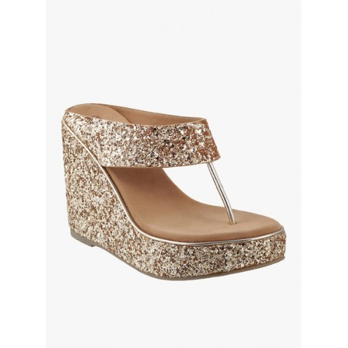 f1f7e2ae80 Buy Mochi Gold-Toned Shimmer Women Wedges online | Looksgud.in