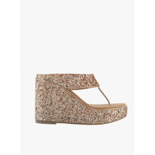 Mochi Gold-Toned Shimmer Women Wedges