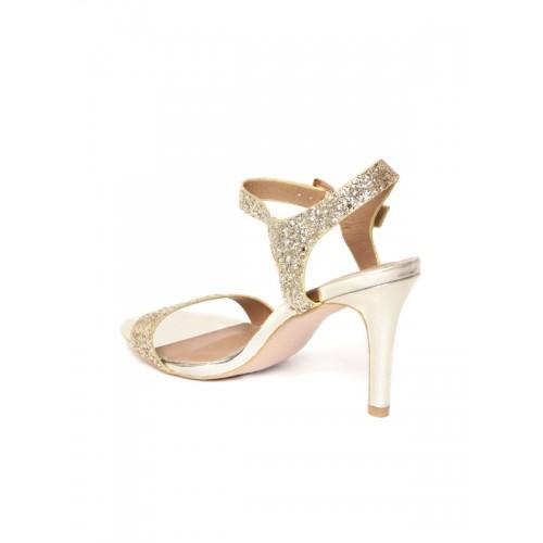 Carlton London Women Gold-Toned Shimmer Slim Heels