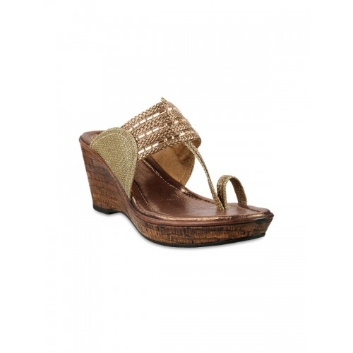 abb59c2c4 Buy Metro Women Gold-Toned Embellished Wedges online ...