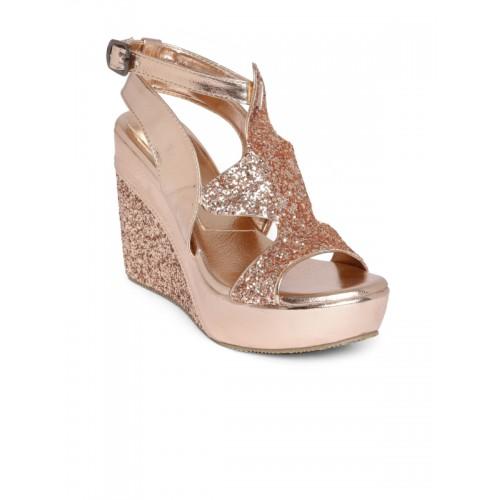 2bbe5e86a Buy Marc Loire Women Gold-Toned Solid Sandals online