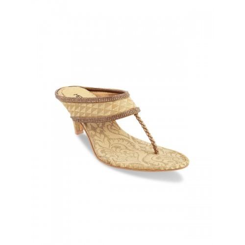 0db828355 Buy Metro Women Gold-Toned Woven Design Sandals online