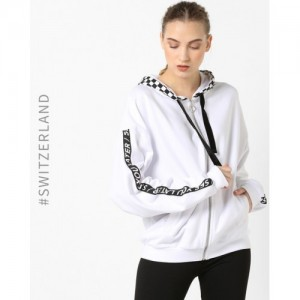 TALLY WEiJL White Printed Hoodie with Ribbed Hems