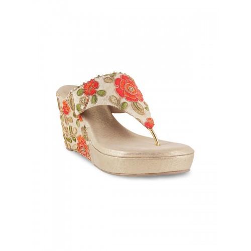 300e57777 Buy Metro Women Gold-Toned Woven Design Wedges online ...