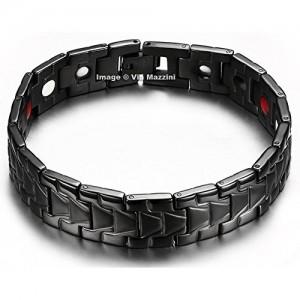 Via Mazzini Stainless Steel Black Bracelet For Men (Bracelet0170)